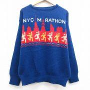 L★古着 長袖 セーター メンズ 80年代 80s NYC マラソン ビル クルーネック USA製 青 ブルー 【spe】 21oct13 中古 ニット トップス