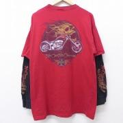 XL★古着 長袖 Tシャツ ウエストコーストチョッパーズ バイク 大きいサイズ ロング丈 赤他 レッド 【spe】 20jun03 中古 メンズ