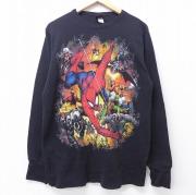 L★古着 長袖 サーマル Tシャツ 00年代 00s DCコミックス スパイダーマン 黒 ブラック 【spe】 20jun03 中古 メンズ