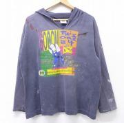 XL★古着 長袖 ビンテージ Tシャツ パーカー 90年代 90s クロスカラーズ BOOM DJ 大きいサイズ コットン USA製 濃グレー 【spe】 20sep22 中古 メンズ