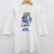 S★古着 7分袖 ビンテージ フットボール Tシャツ メンズ 80年代 80s ディズニー DISNEY ドナルド コットン Vネック USA製 白 ホワイト 【spe】 21jun21 中古 7分丈 七分丈 七分袖