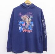 L★古着 長袖 ビンテージ Tシャツ パーカー メンズ 80年代 80s 女性 コットン USA製 紺 ネイビー 【spe】 21jun21 中古