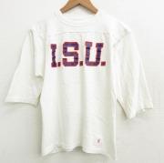 S★古着 チャンピオン champion 7分袖 ビンテージ フットボール Tシャツ メンズ 70年代 70s ISU コットン クルーネック USA製 白 ホワイト 【spe】 21jun21 中古 7分丈 七分丈 七分袖