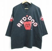 XL★古着 7分袖 Tシャツ メンズ ブルドッグ REDDOG 12 コットン Vネック 黒 ブラック 【spe】 21oct13 中古 7分丈 七分丈 七分袖