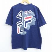 XL★古着 半袖 ビンテージ Tシャツ 90年代 90s フィラ FILA ロゴ コットン クルーネック USA製 紺 ネイビー 【spe】 20sep22 中古 メンズ