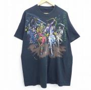 XL★古着 半袖 ビンテージ Tシャツ 90年代 90s リキッドブルー 騎士 弓 馬 スケルトン 大きいサイズ ロング丈 クルーネック 黒 ブラック 【spe】 20sep22 中古 メンズ