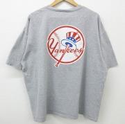 XL★古着 半袖 ビンテージ Tシャツ 00年代 00s アディダス adidas ワンポイントロゴ MLB ニューヨークヤンキース 大きいサイズ クルーネック グレー 霜降り メジャーリーグ ベースボール 野球 【spe】 21apr26 中古 メンズ