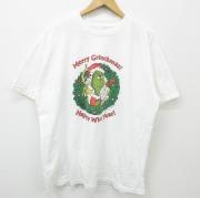 XL★古着 半袖 ビンテージ Tシャツ 90年代 90s ドクタースース グリンチ クリスマス コットン 大きいサイズ クルーネック 白 ホワイト 【spe】 21apr26 中古 メンズ