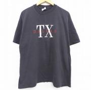 XL★古着 半袖 ビンテージ Tシャツ 90年代 90s ヘインズ Hanes ダラス テキサス 刺繍 コットン クルーネック 黒 ブラック 【spe】 21apr26 中古 メンズ