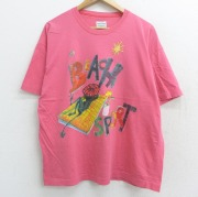 XL★古着 半袖 ビンテージ Tシャツ 90年代 90s ベネトン BENETTON ビーチ スポーツ 大きいサイズ クルーネック ピンク 【spe】 21apr26 中古 メンズ