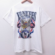 L★古着 半袖 ビンテージ Tシャツ 90年代 90s MLB ニューヨークヤンキース ワールドシリーズ コットン クルーネック USA製 白 ホワイト メジャーリーグ ベースボール 野球 【spe】 21apr27 中古 メンズ