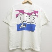 M★古着 半袖 ビンテージ Tシャツ 90年代 90s シロクマ ボウリング コットン クルーネック USA製 白 ホワイト 【spe】 21apr27 中古 メンズ