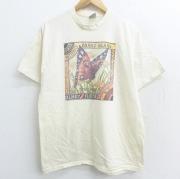 M★古着 半袖 ビンテージ Tシャツ 90年代 90s 蝶 花 コットン クルーネック USA製 生成り 【spe】 21apr27 中古 メンズ