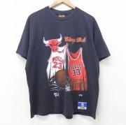 XL★古着 半袖 ビンテージ Tシャツ メンズ 90年代 90s NBA シカゴブルズ クルーネック USA製 黒 ブラック バスケットボール 【spe】 21jun18 中古