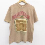 XL★古着 半袖 ビンテージ Tシャツ メンズ 90年代 90s インディアナポリス 500 コットン クルーネック USA製 ベージュ カーキ タイダイ 【spe】 21jun18 中古