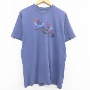 L★古着 半袖 ビンテージ Tシャツ メンズ 80年代 80s ブーツ 足跡 コットン クルーネック USA製 紺 ネイビー 【spe】 21jun18 中古