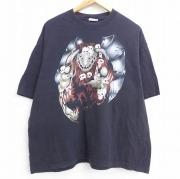 XL★古着 半袖 ビンテージ Tシャツ メンズ 90年代 90s プロレスラー バンピーロ 大きいサイズ コットン クルーネック 黒 ブラック 【spe】 21jun22 中古 メンズ