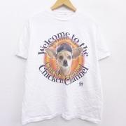 L★古着 半袖 ビンテージ Tシャツ メンズ 90年代 90s 犬 タコベル クルーネック 白 ホワイト 【spe】 21jun22 中古