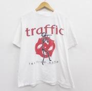 XL★古着 半袖 ビンテージ ロック バンド Tシャツ 90年代 90s トラフィック コットン クルーネック USA製 白 ホワイト 【spe】 20sep17 中古 メンズ