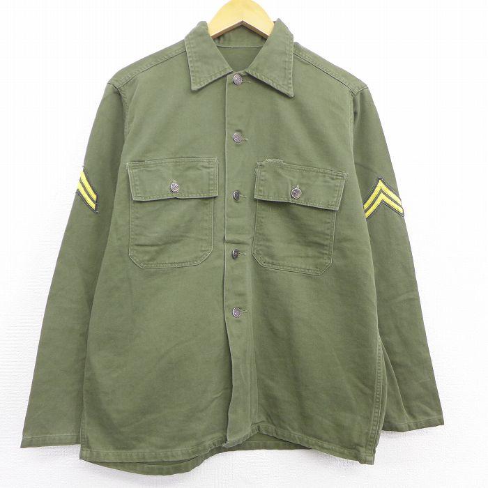 L★古着 長袖 ビンテージ ミリタリー ジャケット メンズ 50年代 50s 13スターボタン コットン 緑 グリーン 【spe】 21sep13 中古 アウター フライト