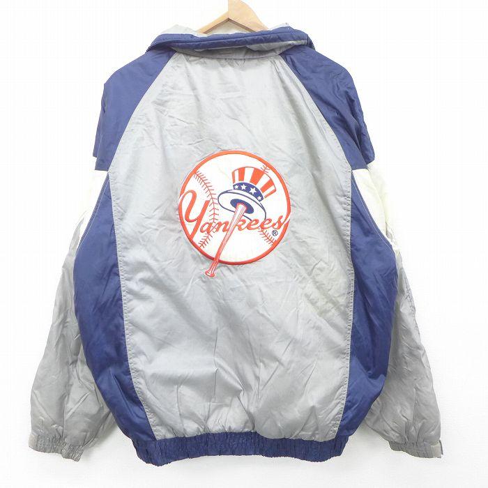 XL★古着 長袖 ナイロン ジャケット メンズ 90年代 90s MLB ニューヨークヤンキース 刺繍 大きいサイズ 紺他 ネイビー メジャーリーグ ベースボール 野球 【spe】 21oct11 中古 アウター