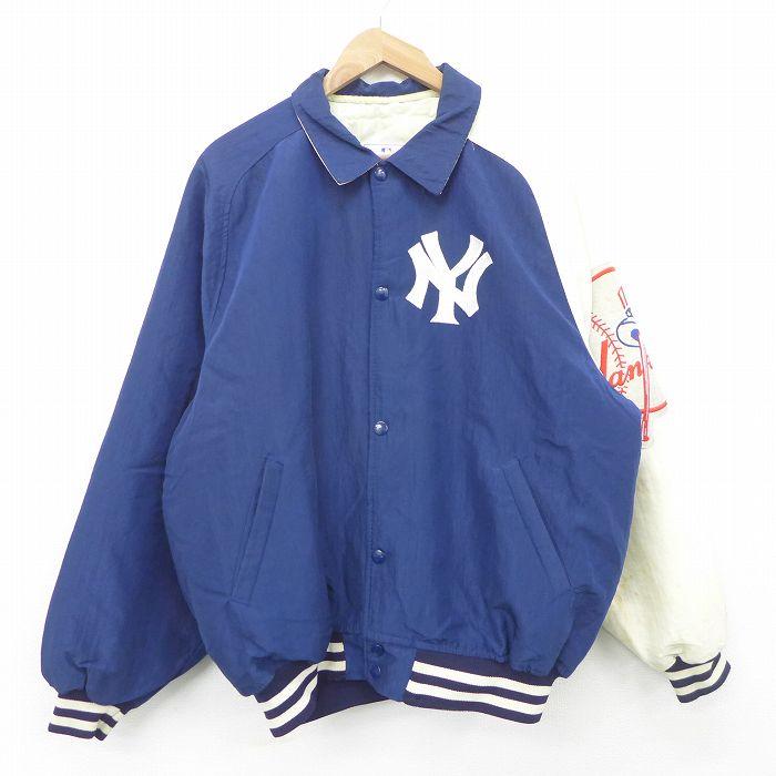 XL★古着 スターター STARTER 長袖 ナイロン ジャケット スタジャン メンズ 90年代 90s MLB ニューヨークヤンキース ラグラン 大きいサイズ 紺他 ネイビー メジャーリーグ ベースボール 野球 【spe】 21oct11 中古 アウター