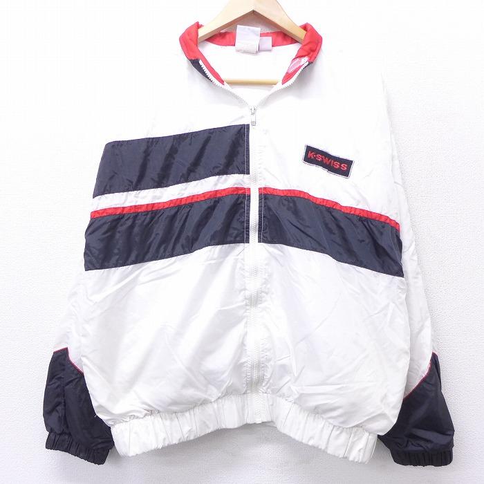 L★古着 長袖 ナイロン ジャケット 90年代 90s KSWISS USA製 白他 ホワイト 【spe】 21feb19 中古 メンズ アウター ウインドブレーカー