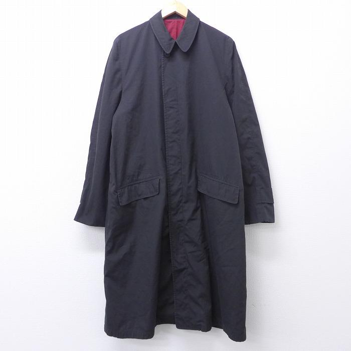 L★古着 長袖 ステンカラー コート 70年代 70s ロング丈 黒 ブラック 【spe】 20nov19 中古 メンズ アウター