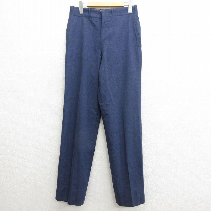 W30★古着 ビンテージ ミリタリー パンツ メンズ 60年代 60s ウール USA製 紺 ネイビー 【spe】 21oct11 中古 ボトムス ロング