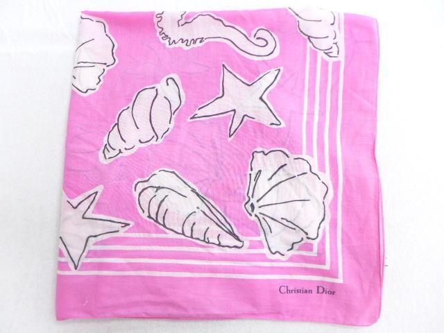 中古 スカーフ クリスチャンディオール Christian Dior 貝 大判 イタリア製 ピンク 【spe】 19mar28