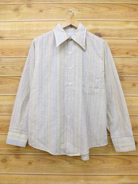 L★古着 長袖 シャツ 70年代 Kマート USA製 グレー他 ストライプ 18jun08 中古 メンズ トップス