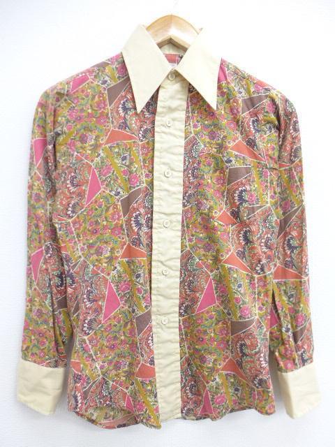 XS★古着 長袖 シャツ 70年代 花 USA製 ベージュ系他 カーキ 19jan21 中古 メンズ トップス