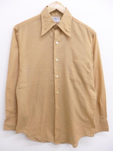 M★古着 長袖 シャツ 70年代 タウンクラフト USA製 ベージュ カーキ 19apr04 中古 メンズ トップス