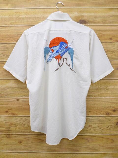 M★古着 半袖 シャツ 70年代 タウンクラフト 鳥 手縫い刺繍 白 ホワイト 【spe】 18apr20 中古 メンズ トップス
