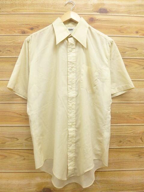L★古着 半袖 シャツ 70年代 USA製 薄ベージュ カーキ 18jul02 中古 メンズ トップス WS