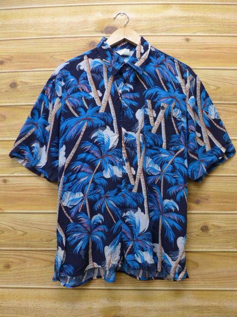 L★古着 ハワイアン シャツ ヤシの木 レーヨン 青 ブルー 18apr06 中古 メンズ 半袖 アロハ トップス
