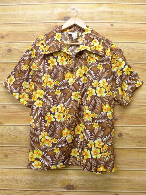 XL★古着 ハワイアン トップス 80年代 花 大きいサイズ こげ茶 ブラウン 18apr06 中古 メンズ 半袖 アロハ