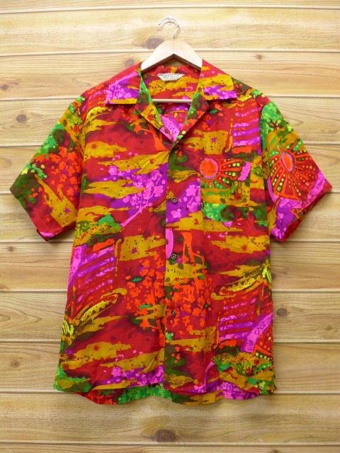 XL★古着 ハワイアン シャツ 70年代 ハワイ製 赤 レッド 18apr06 中古 メンズ 半袖 アロハ トップス