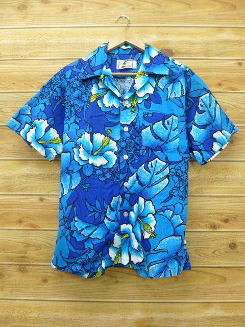 L★古着 ハワイアン シャツ 80年代 ハイビスカス 青 ブルー 18apr12 中古 メンズ 半袖 アロハ トップス
