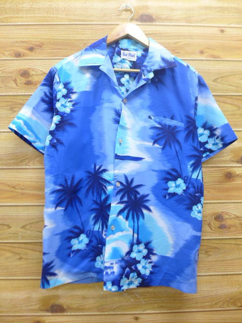 XL★古着 ハワイアン シャツ 80年代 ハイビスカス 青 ブルー 18apr17 中古 メンズ 半袖 アロハ トップス