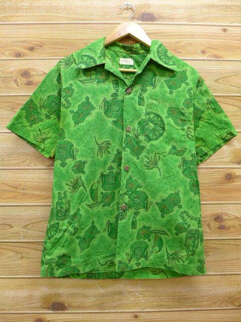 L★古着 ハワイアン シャツ 70年代 ハイビスカス ハワイ製 緑 グリーン 18apr17 中古 メンズ 半袖 アロハ トップス