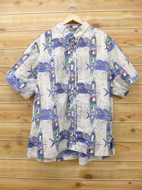 XL★古着 ハワイアン シャツ カハラ カジキ 大きいサイズ 薄ベージュ カーキ 18apr27 中古 メンズ 半袖 アロハ トップス