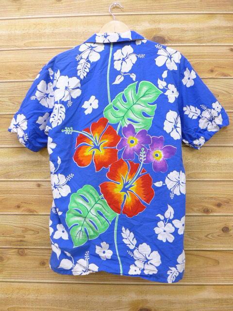 L★古着 ハワイアン シャツ 80年代 ケニントン ハイビスカス 青 ブルー 【spe】 18apr27 中古 メンズ 半袖 アロハ トップス