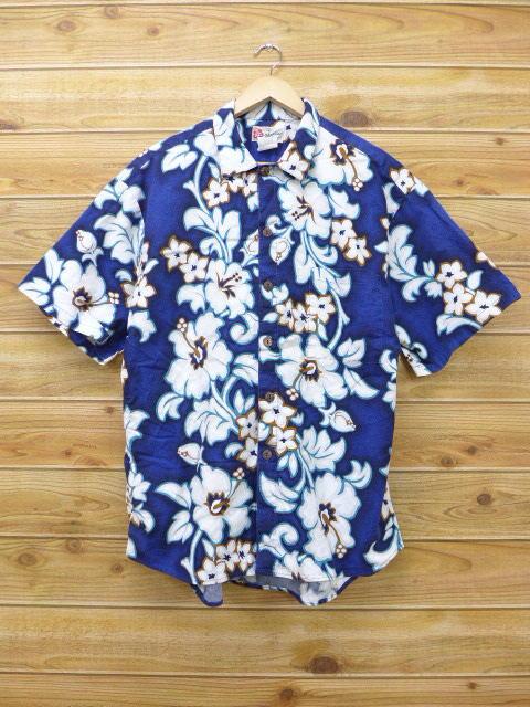 XL★古着 ハワイアン シャツ 90年代 花 ハワイ製 紺 ネイビー 18apr27 中古 メンズ 半袖 アロハ トップス