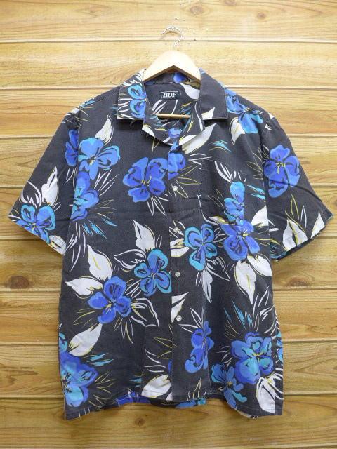 L★古着 ハワイアン シャツ 90年代 花 USA製 黒 ブラック 18may14 中古 メンズ 半袖 アロハ トップス