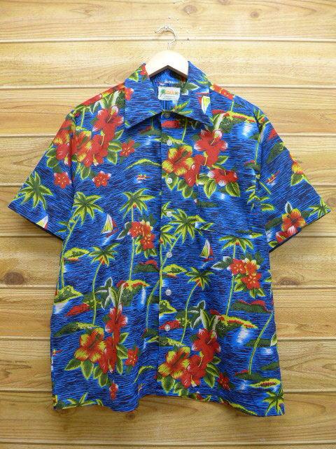 XL★古着 ハワイアン シャツ 80年代 ハイビスカス ヤシの木 紺 ネイビー 18may14 中古 メンズ 半袖 アロハ トップス