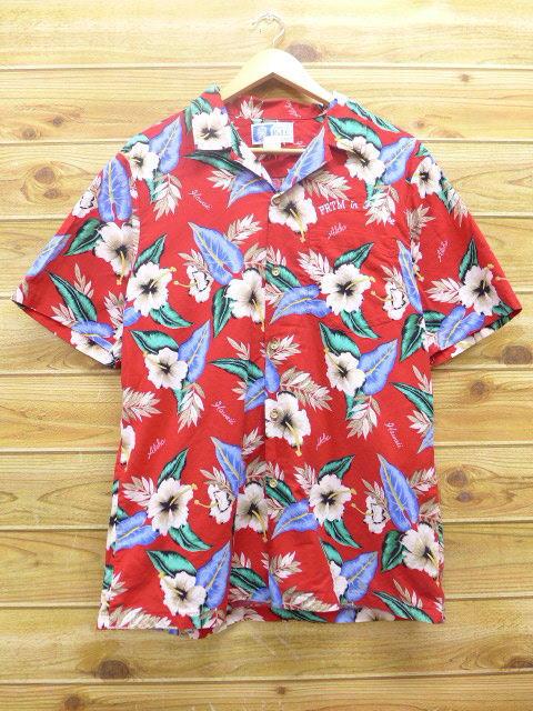 XL★古着 ハワイアン シャツ ハイビスカス ハワイ製 赤 レッド 18may14 中古 メンズ 半袖 アロハ トップス