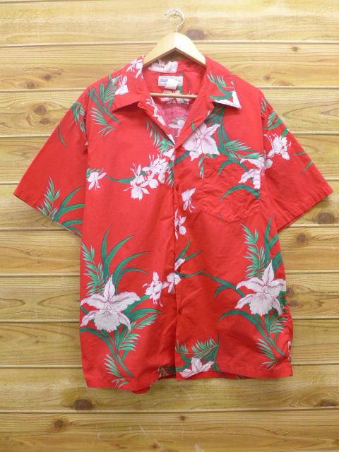 XL★古着 ハワイアン シャツ 80年代 ハイビスカス 赤 レッド 18may14 中古 メンズ 半袖 アロハ トップス