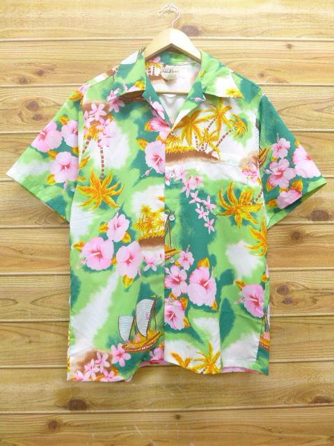 L★古着 ハワイアン シャツ 80年代 ハイビスカス ヤシの木 緑 グリーン 18may14 中古 メンズ 半袖 アロハ トップス