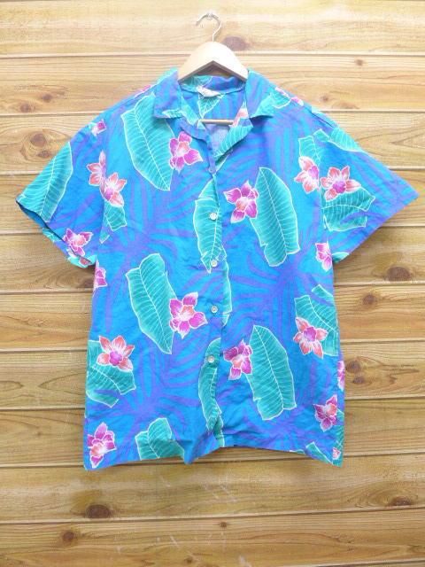 L★古着 ハワイアン シャツ 80年代 ハイビスカス 青 ブルー 18may14 中古 メンズ 半袖 アロハ トップス